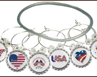 Fourth Of July Wine Charms  - 4th Of July Glass Markers - Independence Day - July 4th Glass Tags -  4th Of July Party Favors - Decorations