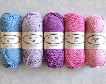 100% Cotton Yarns 5 Purple colours Granny Kit Ready to ship by CrochetObjet