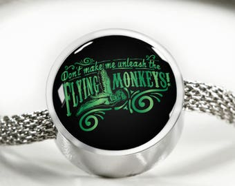 Don't Make Me Unleash The Flying Monkeys Stainless Steel Charm Bracelet, Wizard of Oz Themed Gift, Wizard of Oz Gifts