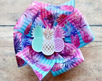 Pineapple pinwheel Hair Bow