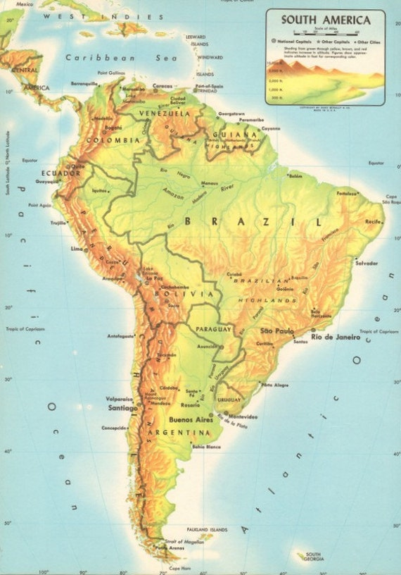 Items similar to Vintage Physical Map of South America Large