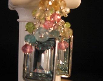 Gemstone Cluster Earrings,dangle earrings,drop earrings,gemstone earrings,crystal earrings, silver earrings, aquamarine earrings,cluster