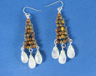Moonstone Earrings, Moonstone Dangle, Chandelier, Fashion Earrings, Wire Wrapped