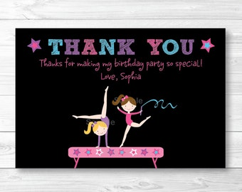Gymnastics Birthday Thank You Card / Girl Gymnastics / Chalkboard Thank You Card / PRINTABLE A193