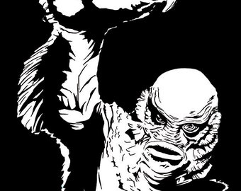 HALLOWEEN SALE!! The 'Creature from the black lagoon' stylish pop art print / poster