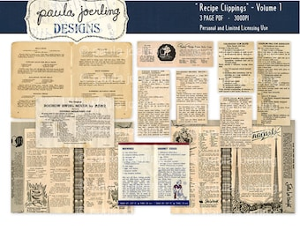 Recipes Clippings Download,Recipes Ephemera, Printable, Digital Download, Scrapbook Paper, Old Newspaper Clippings, Vintage Cookbook