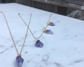 Raw Amethyst Pendant, Rough Amethyst Necklace, Rough Layered Necklace, Raw Layered Pendant, Raw Boho Necklace, Layering Necklace AME-G-R-S