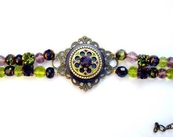 Bracelet amethyst and green olivine, swarovski crystal, glass
