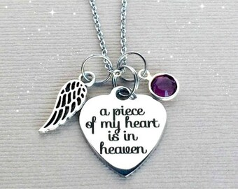 A Piece of my Heart is in Heaven, Memorial Necklace, Sympathy Gift, Remembrance Jewelry, Memorial Jewelry, Sympathy Jewelry