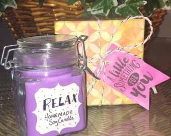 Relax Essential Oil Blend Homemade Soy Candle, purple soy candle