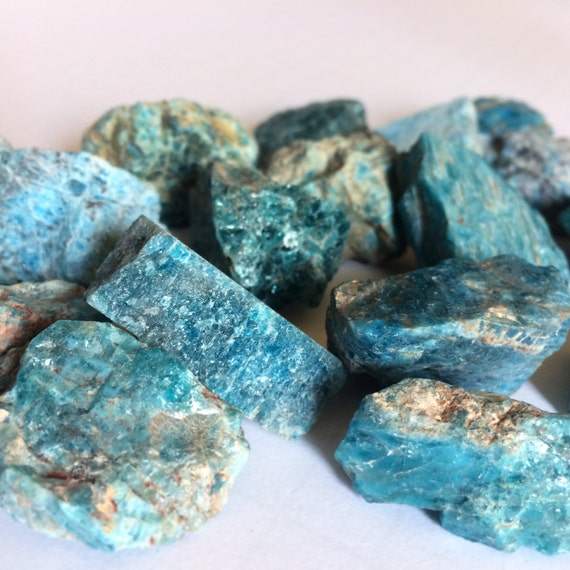 Raw Apatite Mineral Specimen Blue Green Stone Natural Rough Stone Aura Cleanse Headaches Vision Introvert Crystal Healing