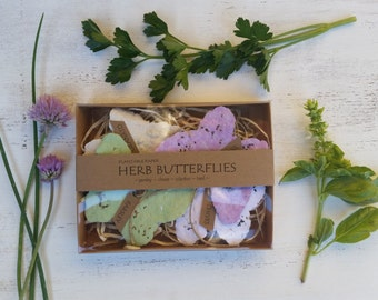 Herb plantable paper butterflies seed paper butterfly garden herb seeds recycled paper hostess gift seed bomb baby shower herb seeds gift