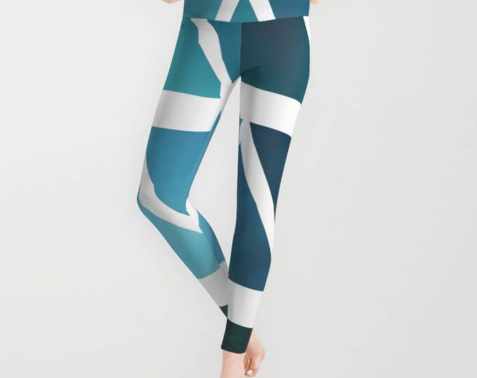 Leggings - Blue Modern art - Ombre Yoga Pants - Yoga Leggings - Tights - Blue and White  - Made to Order