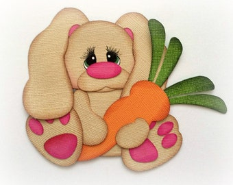 premade paper piecing bunny holding carrot scrapbooking embellishment by My tear bears by Kira