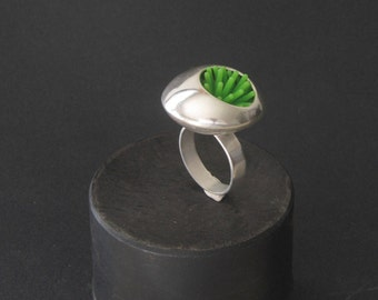 Statement ring. modern ring, sculpture ring. green ring, avnt garde ring. contemporary ring,christmas gift . gift for her. art to wear.