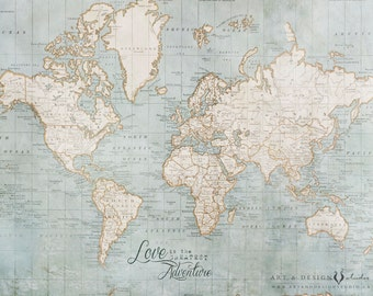World map poster etsy world map wall gumiabroncs Image collections
