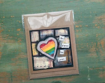 SALE!  LGBT card, heart card, rainbow card, mixed media art card, acceptance card, gay LGBT pride card, heart art, rainbow art, Clearance