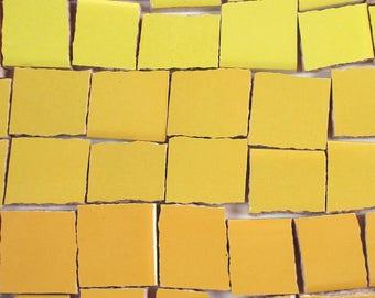 Ceramic Mosaic Tiles - Ombre Shades Of Yellow Mosaic Tile Pieces Shades Of Yellow Tiles - 40 Pieces - For Mosaic Art / Mixed Media Art