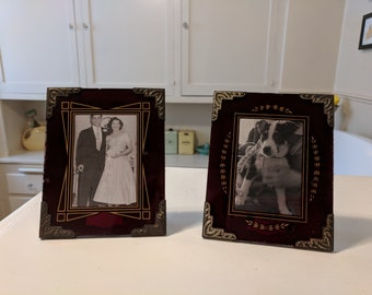 Art Deco set frames reverse painted burgundy glass