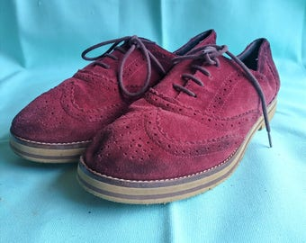 Red Suede Wingtips - Womens 8.5US