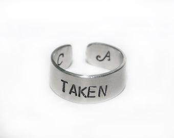 Taken Ring, Initial Cuff Ring, Engraved Ring, Monogram Ring, Engraved Aluminum Ring, Personalized Hand Stamped Ring, Custom, Adjustable