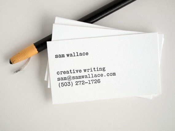 Typewriter business cards editor style letterpress black like this item reheart Gallery