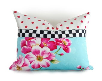 Whimsical Girls Pillows, Cottage Pillows, Pink Blue Throw Pillows, Pink Polka Dot Pillow, Black White Checks, BLACK FRIDAY SALE, 14x20