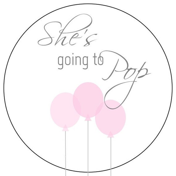 Shes going to pop stickers pink baby balloon stickers pink baby shower labels pink balloon baby stickers from simplysweetpartyshop on etsy studio