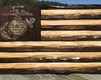 USMC Rustic Flag with option for Military Coin Holder version