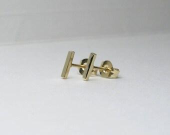 14k Gold Tiny Earrings, 14k Gold Staple Earrings, 14k Gold Stud Earrings, 14k Gold Studs, 14k Gold Staple Studs, 14k Gold Bar Studs