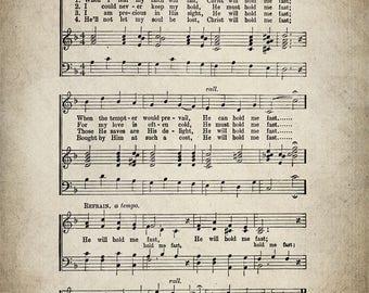 He Will Hold Me Fast Hymn Print - Sheet Music Art - Hymn Art - Hymnal Sheet - Home Decor - Music Sheet - Print - #HYMN-P-039
