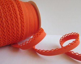Bias binding with crocheted trim/crochet orange