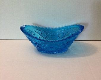 Vintage Pressed Glass Canoe Dish, Blue