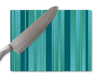 Turquoise glass cutting board, turquoise stripes, gradient, ombre, couples gift, gift for him, gift for her, Christmas gift, wedding gift