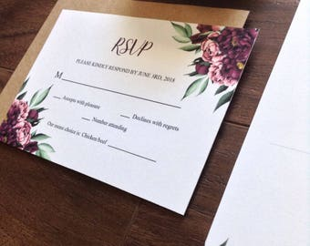 Burgundy Floral Wedding RSVP Card - Printable