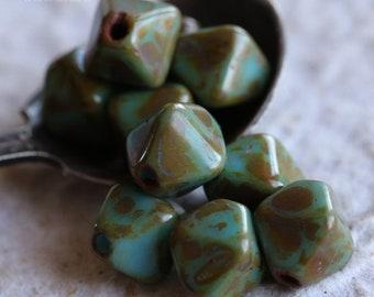 LICHEN SKY DIAMONDS .. New 10 Picasso Czech Diamond Glass Beads 10mm (6215-10)