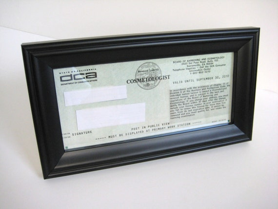 Black Satin Business / Cosmetology License Frame