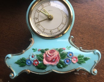 Vintage alarm clock Aqua blue  roses west Germany music alarm