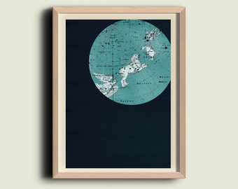 Cancer and Leo Constellation  Stars Map Zodiac  Print Vintage Image