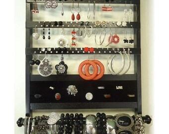 ON SALE Jewelry Organizer, Earring Holder Ring Display, Elegant Deluxe Wall Mount, Bracelet Storage Necklace Rack, Solid Oak Hardwood, All I
