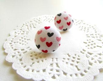 Tiny Heart Studs, Fabric Button studs, Heart Earring Studs, Mini Studs Posts, Love Earring Studs, Heart Studs Posts, Valentines Jewelry