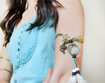 Dreamcatcher Feather Upper Arm Bracelet Cuff, Fish Charm Bohemian Hippie Jewelry Handmade Recycled