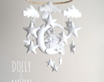 Unicorn Moon Baby Mobile, Unicorn crib mobile, nursery décor, whimsical nursery, silver white nursery, star cloud mobile