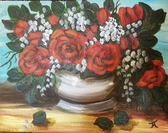 Rose Bowl, original painting, acrylic on canvas, 11 x 14