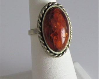 Large Vintage Baltic Amber Sterling Ring