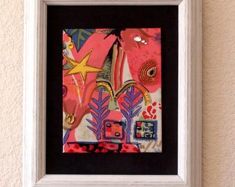 SALE Framed Tapestry Wall Art // with Glittery // 3D // Embellishments // Contemporary // Abstract // Stretched Silk Art // ***WAS 39.00