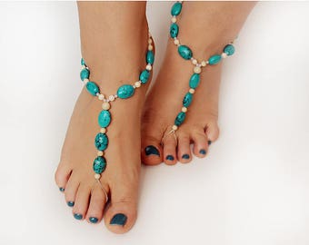 Barefoot Sandals, Foot Jewelry Turquoise Howlite