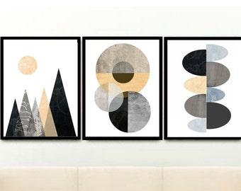 Geometric Art Prints, Triptych, Printable Art, Abstract Art, Scandinavian Art, Textured Art, Set of 3 Prints, Instant download