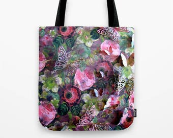 Roses & Butterflies Tote Bag / Encaustic Art on Tote / Book Tote Bag / Market Tote Bag / Available in 3 Sizes / Made to Order