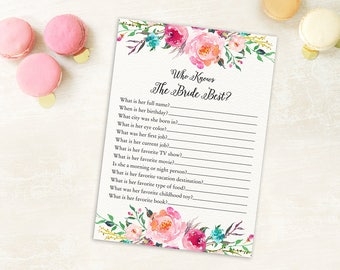 Who Knows The Bride Best, How Well Do You Know the Bride Game, Bridal Shower Game, Bridal Shower Activity, Floral Bridal Shower Game